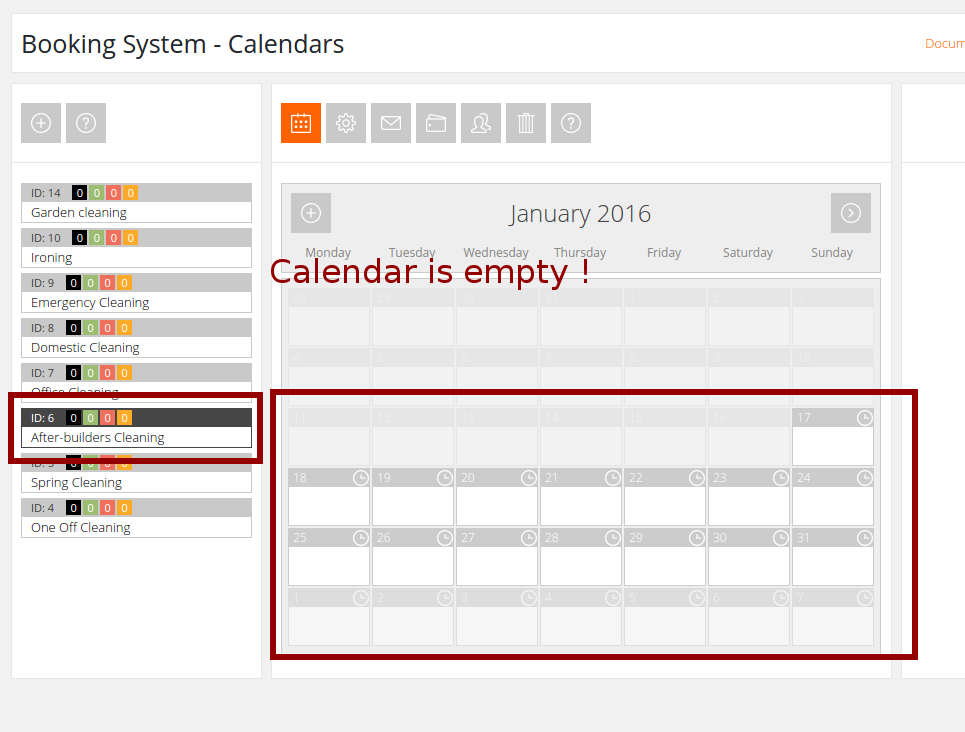 Image no.2 Example of an empty calendar in booking system pro (dopbsp) plugin in wordpress