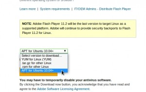Selecting APT at the version list for Adobe Flash Player
