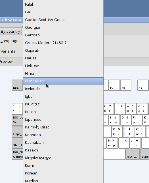 Selecting a language for a new keyboard layout in linux debian, ubunt, or linux mint
