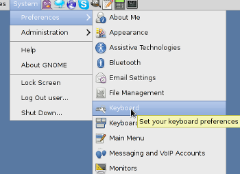 Selecting keyboard preferences in Gnome - linux debian, ubuntu or linux mint