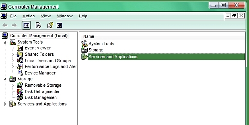 Services and applications entry in computer management console on windows XP