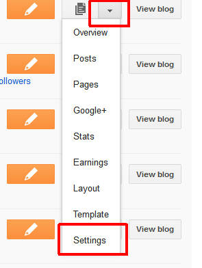 Selecting blog settings from the popup menu in blogger's dashboard