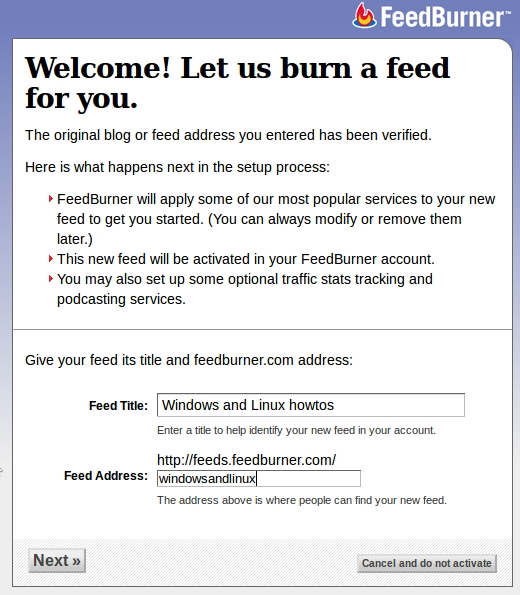 Naming your feed in feedburner
