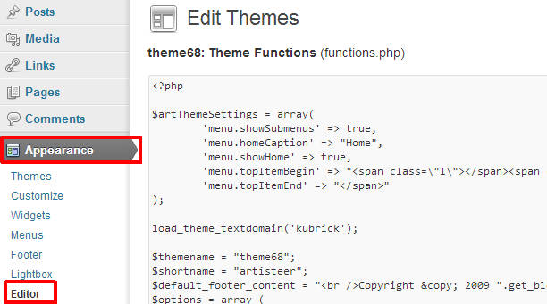 Selecting theme editor in wordpress dashboard menu
