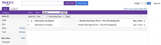 Yahoo Mail - reverted to previous version's interface