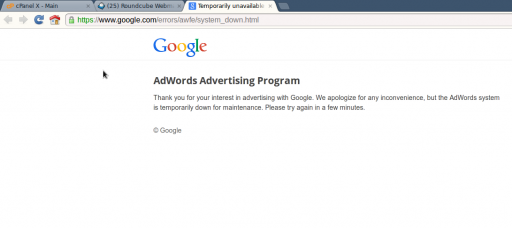 Google Adwords is down for maintenance