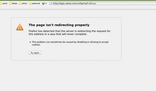 Image with firefox error message about yahoo's endless redirect loop