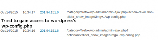 Image 1. Visitor trying to gain unauthorised access to wp-config.php