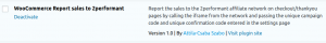 Image of the Wooreport_2Performant plugin on a Wordpress/Woocommerce backend, on the plugins page
